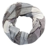 Gray Combo Reversible Plaid Infinity Scarf by Charlotte Russe