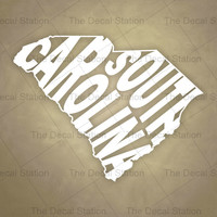 South Carolina Vinyl Decal Sticker for Car Truck Auto. Word Art . US State Pride.