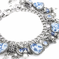 Blue Willow Broken China Charm Bracelet