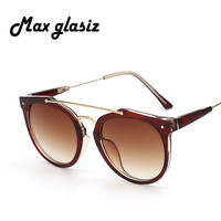 Maxglasiz Round Women Brand Designer Vintage Rivets Retro Fashion Female Sunlasses Leopard Men Sun Glasses Frame Gafas De Sol