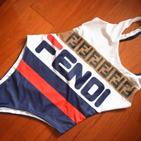 FENDI Cute Bear Prints Halter One Piece Swimsuit Bikini