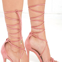 Sadie Blush Pink Suede Lace-Up Heels