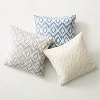 Embroidered Ikat Pillow Cover & Insert