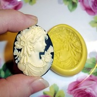 Victorian Lady CAMEO Flexible Push Mold Mould Use Resin Paper Clay Sculpey Fimo Polymer Premo Wax Chocolate (J209)