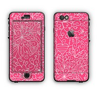 The Pink & White Abstract Illustration V3 Apple iPhone 6 Plus LifeProof Nuud Case Skin Set