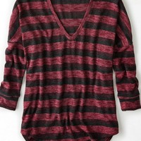 AEO Women's Striped Dolman V-neck Sweater