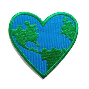 World Patch - World Heart Nature Patch New Iron On Patch Embroidered Applique Size 7.2cm.x7cm.