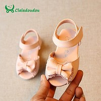 Claladoudou Baby Sandals Girls Pink Lace Cute Shoes Kids Girl White Bow Rose Red Baby Sandals For Toddler Slipper For Infant
