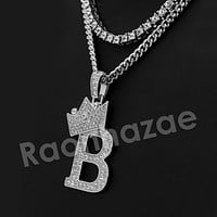 King Crown B Initial Pendant Necklace Set (Silver)