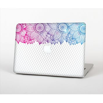 The Vibrant Vintage Polka & Sketch Pink-Blue Floral Skin Set for the Apple MacBook Pro 13""