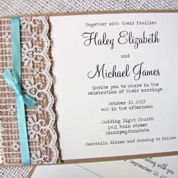 Rustic Wedding Invitation,Burlap Wedding Invitation. Lace, Ribbon, Burlap Wedding Invitation Suite Rustic, Sample