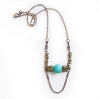 Turquoise and Rough Pyrite Necklace - Handmade Semiprecious Jewelry - Primitive Organics Collection Fall/Winter 2012