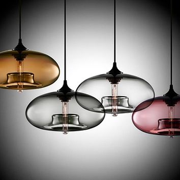 Contemporary Hanging 6-Color Glass Ball Pendant