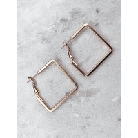 Square Hoops - Matte Gold