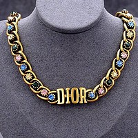Dior colored stone women's wild logo alphabet bracelet