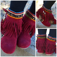 Winnie May Moccasin Fringe Wine Boots