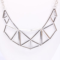 Silver High Polish Metal Perforated Geometric Necklace