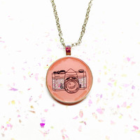 Camera Necklace, Photography Jewelry, Hipster Necklace, Camera Illustration, Hipster Doodle Image, Round Pendant Necklace, Affordable Gift