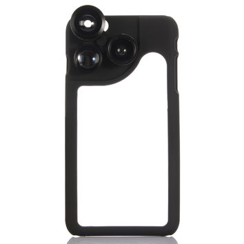 Black KKMOON 4-in-1 Phone Photo Lens 180 Fisheye 120 Wide Angle 2X Telephoto 2X Macro Set with Case for iPhone 6 Plus 6S Plus