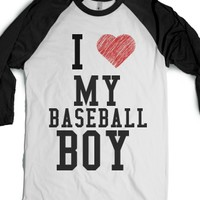 I Love My Baseball Boy Blk-Unisex White/Black T-Shirt