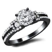 1.0ct Round Diamond Engagement Ring 18K Black Gold Rhodium Plating Over White Gold Certified With a 0.55ct Center White Diamond and 0.45ct of Surrounding Diamonds