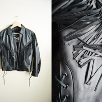 Leather n' Fringe - Vintage 90s Black Leather Fringe Tassle Jacket Coat Braided