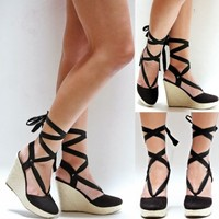 New Womens OD4 Black Wrap Lace Up Platform Wedge High Heels Espadrille Sandals