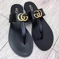 GUCCI Slippers Flip-flops Shoes Double G Metal Buckle