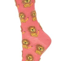 Topshop Fluffy Lion Pattern Ankle Socks