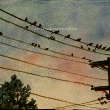 Birds on wire watercolor print. Telephone pole painting. Bird wall art. Watercolor birds. Finches picture. Watercolor sunset. Bird picture.