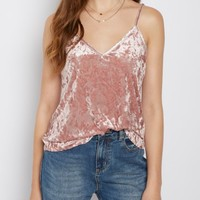 Pink Crushed Velvet Cami | Going Out Tank Tops | rue21