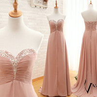 2014 Bridesmaid Dress Sweetheart Beading Lace Up Back A Line Ruffle Long Chiffon Long Crystal Prom Dress 2014 Wedding Party Dresses