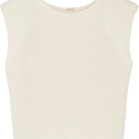 Adam Lippes - Ribbed-knit cotton, cashmere and silk-blend top