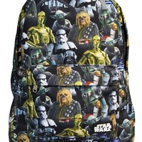 """""""Star Wars Multi Character"""" Backpack by Loungefly (Black/Multi)"""