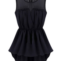 Black Sheer Insert Skater Dress