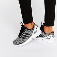 adidas Originals Black Print Zx Flux Trainers With Side Stripes at asos.com