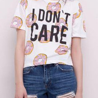 White Yummy Doughnut Letter Print Short Sleeve Graphic T-shirt