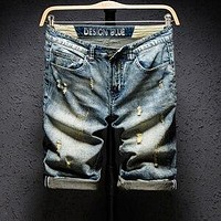 Men's Streetstyle Blue Men Streetwear Shorts, Ripped Bermuda Denim Jeans Short