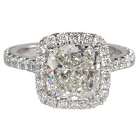 Classic GIA Certified Cushion Cut Halo Engagement Ring Set in Platinum
