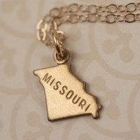 Small Gold Missouri State Charm Necklace, Miniature Brass Pendant, 14kt Delicate Filled Chain, Little, Simple, Mini Geography, Map, Land