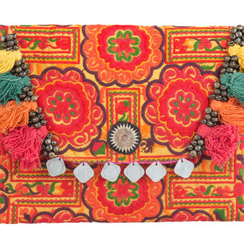 Circle Tribal Ipad Cover Bag with Hmong Embroidered in Yellow