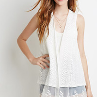 Embroidered Lace Mesh-Paneled Vest