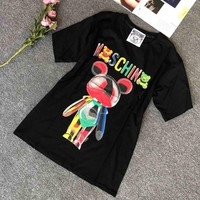 Moschino 2019 new candy color doll bear print round neck short-sleeved T-shirt black