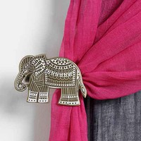 Etched Elephant Curtain Tie-Back- Gold