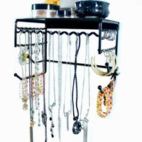 """Black 10"""" Wall Mount Jewelry & Accessory Storage Rack Organizer Shelf for Earrings, Bracelets, Necklaces, & Hair Accessories"""