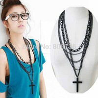1PC Hot Multi-layer Black Rosary Bead Long Sweater Chain Pendant Metal Cross Long Necklace Punk Women Religious Jewelry Gift