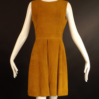 1960s Brown Suede Dress, Bust-34