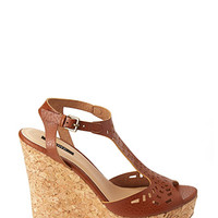 FOREVER 21 Lasercut Wedge Sandals Camel