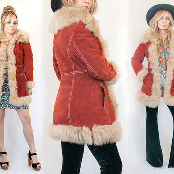 70s Rust Genuine Suede Shearling Fur Trim Penny Lane Coat Size Small XS | 1960s Vintage Mongolian Afghan Leather and Fur Hippie Jacket Parka
