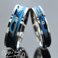 Blue Love Couple Rings Wedding Engagement Korean Jewelry, His and Hers Promise Ring Stainless Steel, 1 Piece Price WR017
